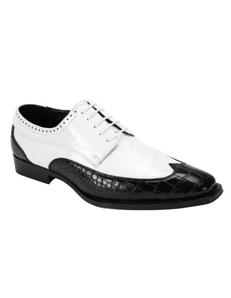 6870 Two Toned Wingtip Exotic Skin Alligator Print Lace Up Dress Shoe Black ~ White