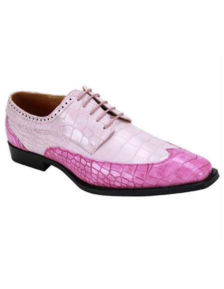 6870 Two Toned Wingtip Exotic Skin Alligator Print Lace Up Dress Shoe Rose ~ Light Pink