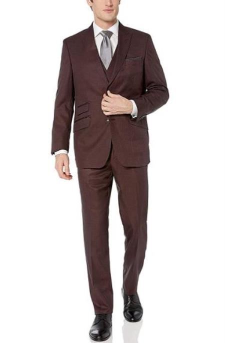 Burgundy Peak Lapel Modern Fit 3-Piece Suits