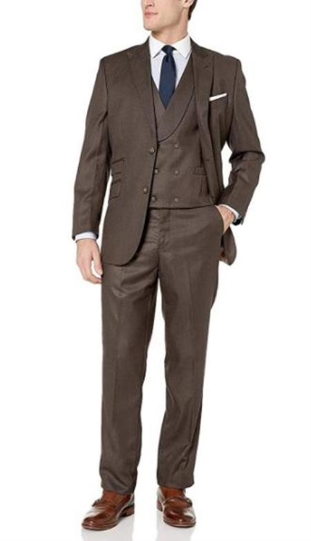 Brown Hook-and-Button Closure 3-Piece Suits