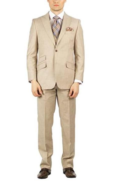 Beige Peak Lapel Fully Lined Modern fit suit