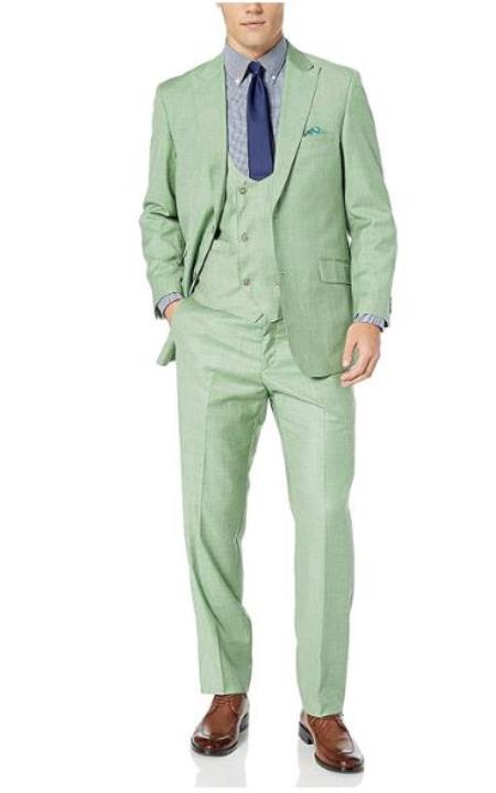 Green Dual Side vents Modern fit Suits