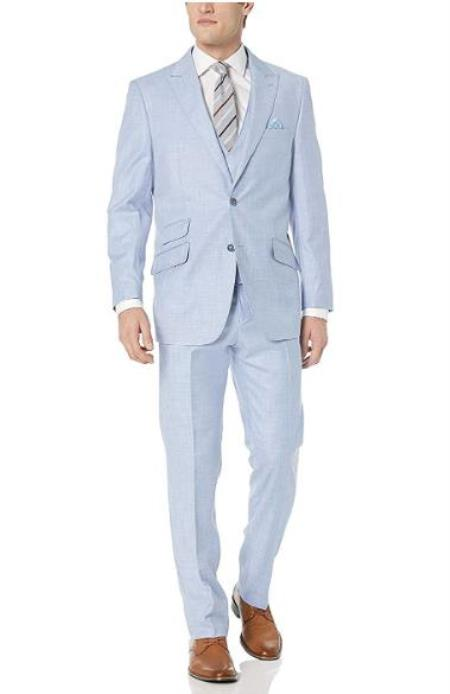 Light Blue Vest Double Breasted Closure Suits
