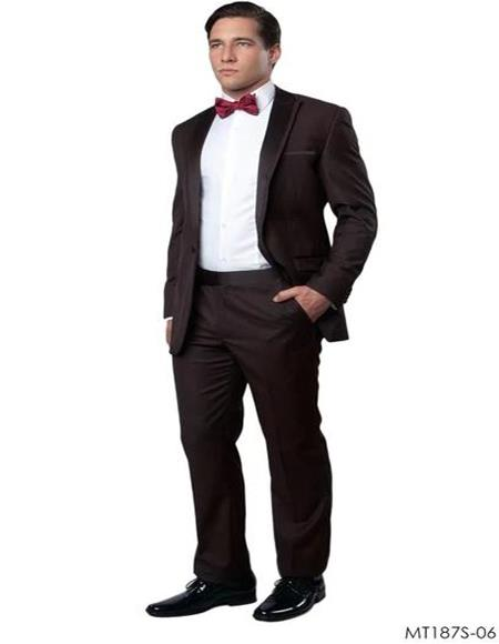 Mens One Button Vested Brown Tuxedo Suit