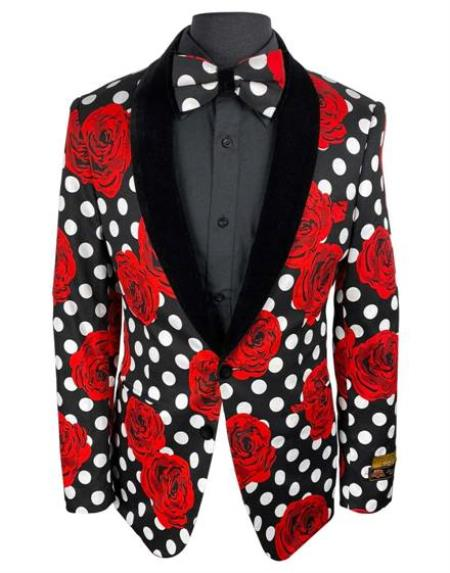 Red Tuxedo Black and White and Red Polk Dot Floral Flower Paisley Suits