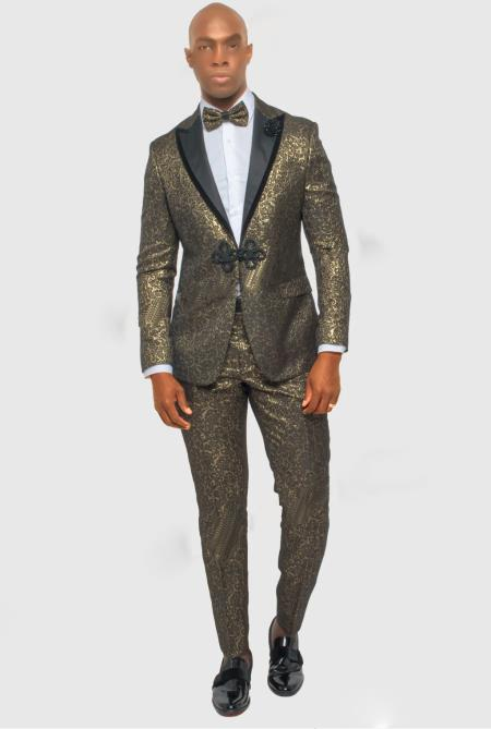 Mens One Button Single Breasted Gold ~ Black Suit