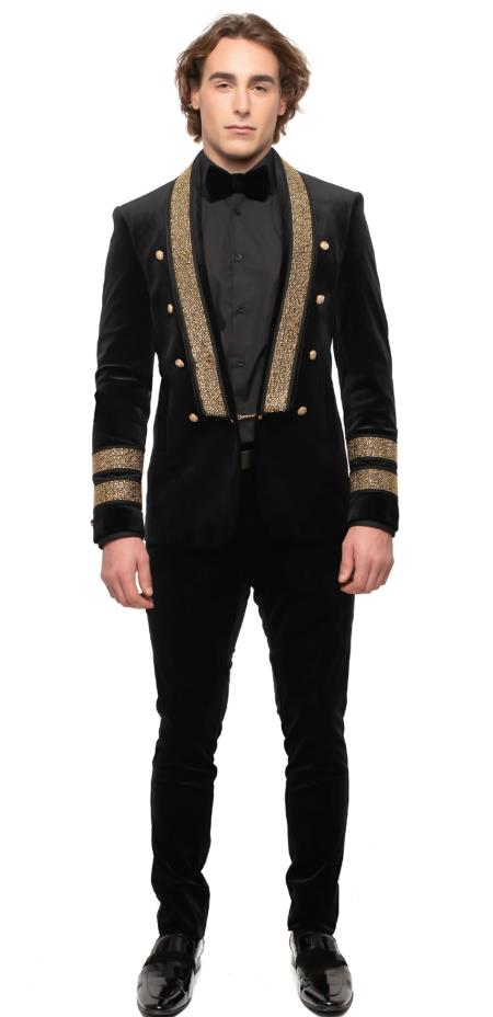 Mens Six Button Single Breasted Black ~ Gold Suit