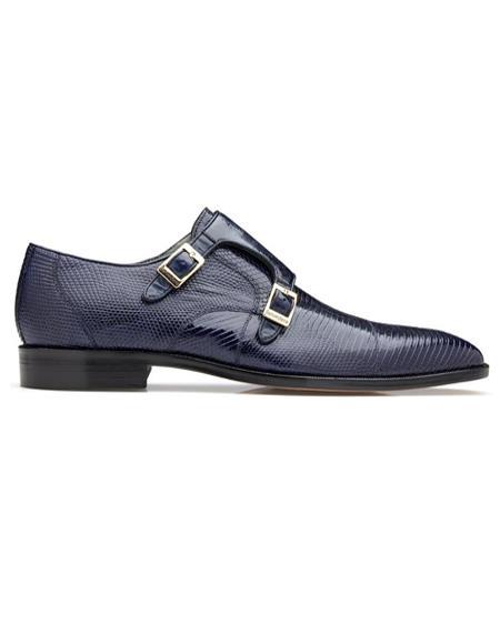 Mens double monk strap shoes Mens Pablo Lizard & Ostrich Monk Strap Navy
