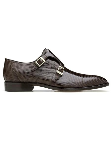 Men's double monk strap shoes Men's Pablo Lizard & Ostrich Brown- Men's Buckle Dress Shoes