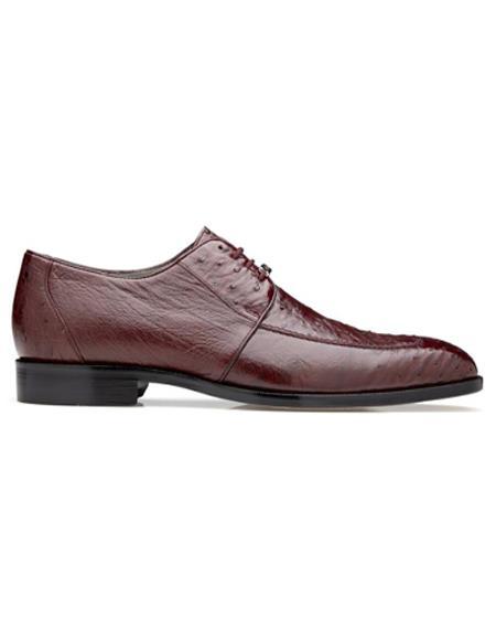 Mens Rovigo Ostrich Dress Shoes Burgundy