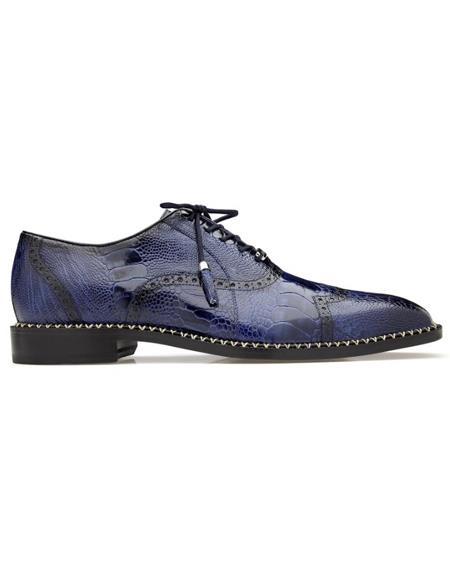 Men's Alex Ostrich Wingtip Shoes Antique Royal Blue