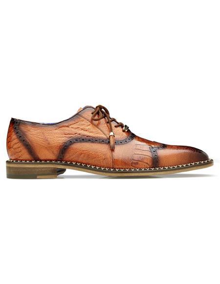 Men's Alex Ostrich Wingtip Shoes Antique Tangerine