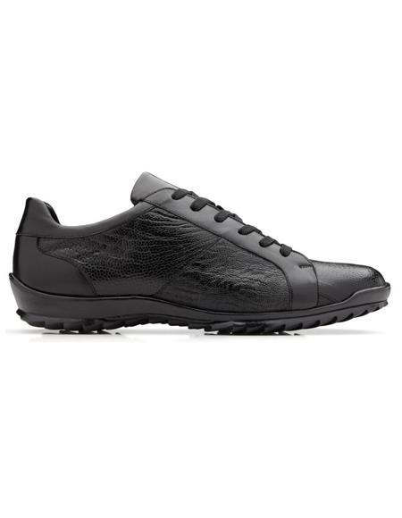 Mens Arena Ostrich & Calfskin Dress Sneaker Black