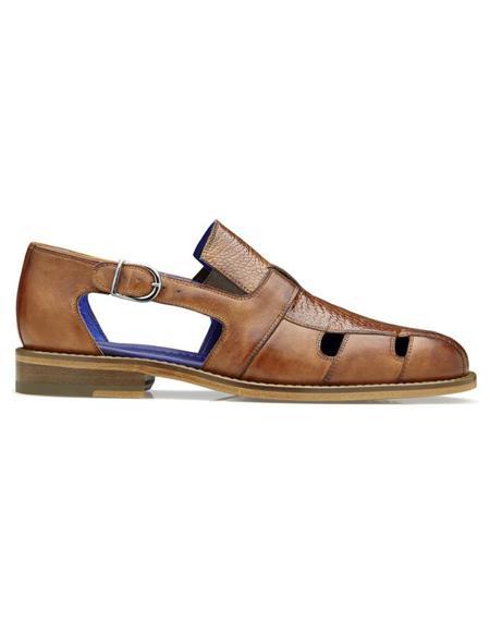 Mens Connors Ostrich & Calf Mens Dress Sandals Antique Honey