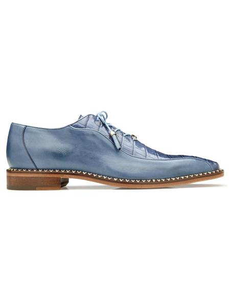 Mens Gabriele Caiman & Calf Oxfords Antique Blue Jean