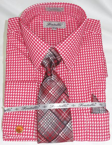 Red Colorful Mens Gingham Dress Shirt
