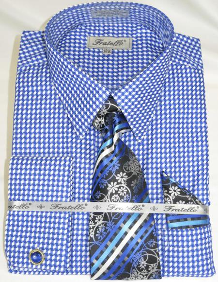 Blue Colorful Men's Gingham Dress Shirt