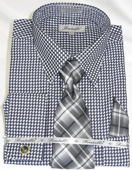 Black Colorful Mens Gingham Dress Shirt
