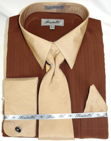 Brown Multi Colorful Men's Dress Shirt