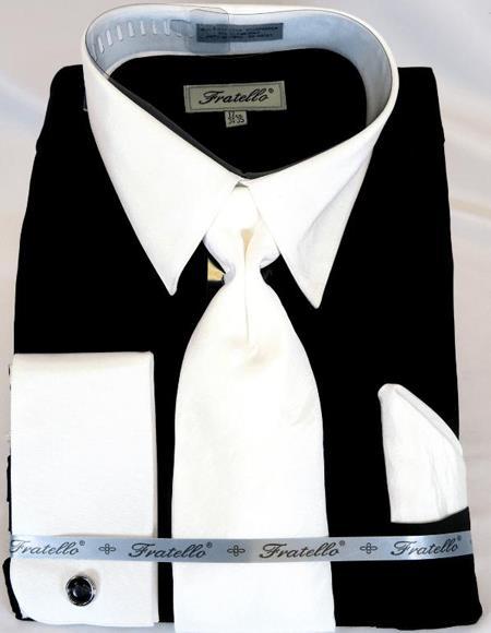 Black Multi Colorful Men's Dress Shirt