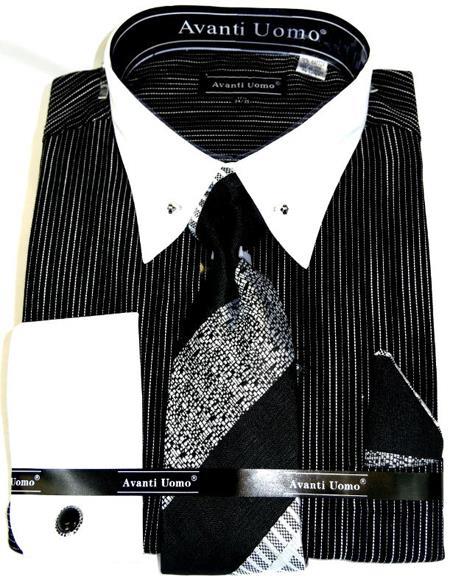 Black PinStripe Colorful Men's Dress Shirt