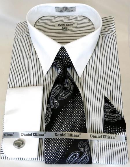 White Colorful Men's Dress Shirt