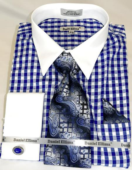Blue Gingham Plaid Colorful Mens Dress Shirt