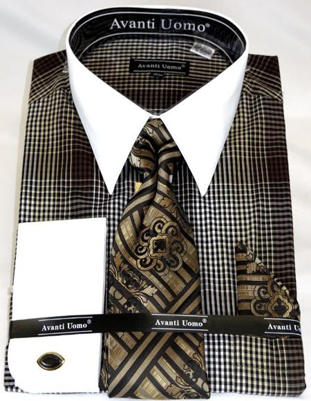 Brown Houndsiooth Colorful Men's Dress Shirt