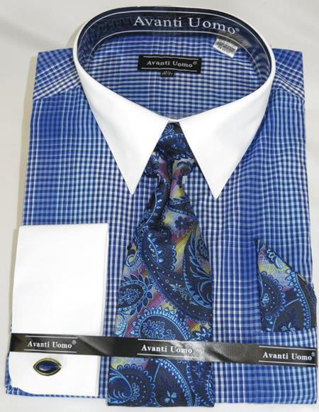 Blue Houndsiooth Colorful Men's Dress Shirt