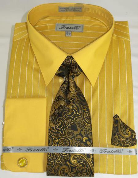 Gold Colorful Men's Dress Shirt