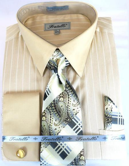 Beige Colorful Men's Dress Shirt