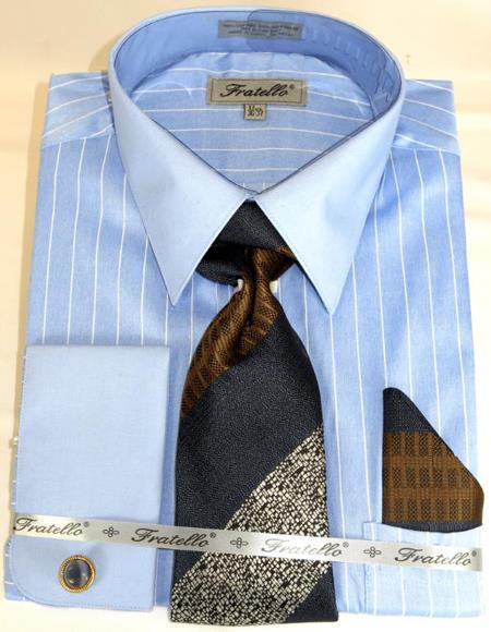 Blue Colorful Men's Dress Shirt