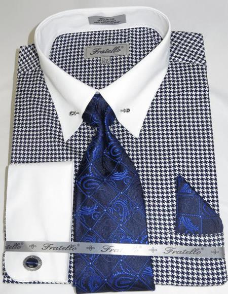 Blue Houndstooth Colorful Men's Dress Shirt