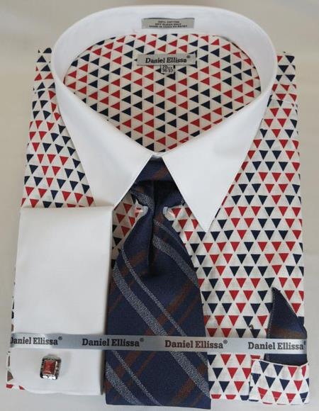 Red and Blue Triangle pattern Colorful Men's Dress Shirt