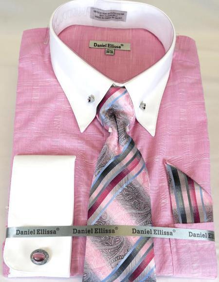 Pink Colorful Mens Dress Shirt