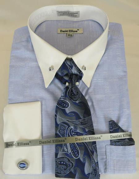 Powder Blue Colorful Men's Dress Shirt