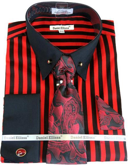 Black/Red Stripe Colorful Men's Dress Shirt