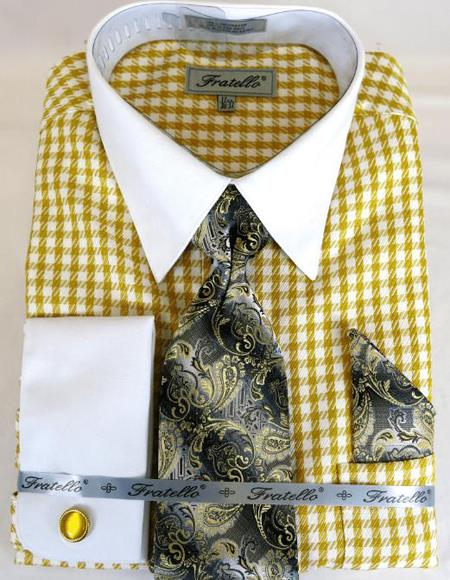 Gold Houndstooth Colorful Men's Dress Shirt