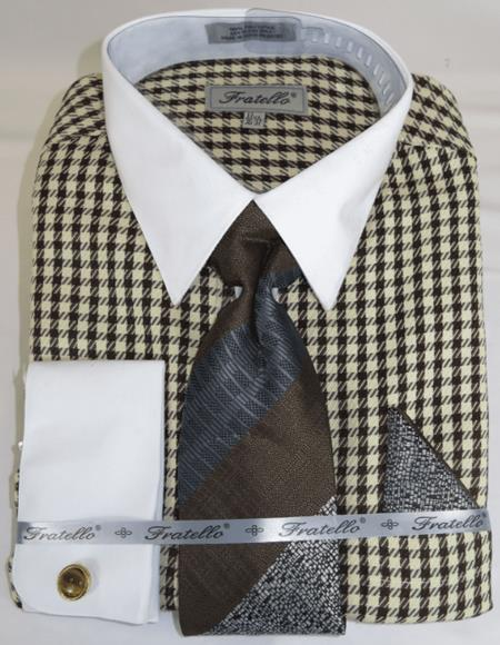 Brown Houndstooth Colorful Men's Dress Shirt