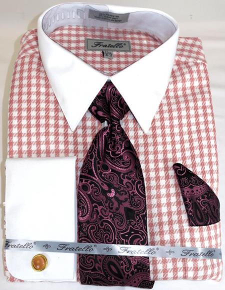 Pink Houndstooth Colorful Mens Dress Shirt