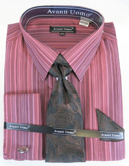 Wine Colorful Men's Dress Shirt