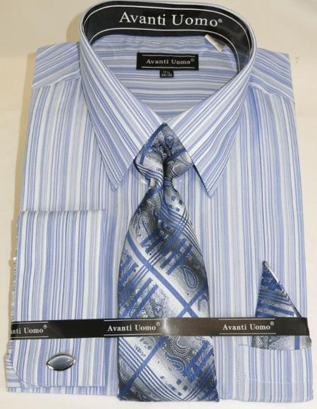 Blue Colorful Men's Dress Shirt