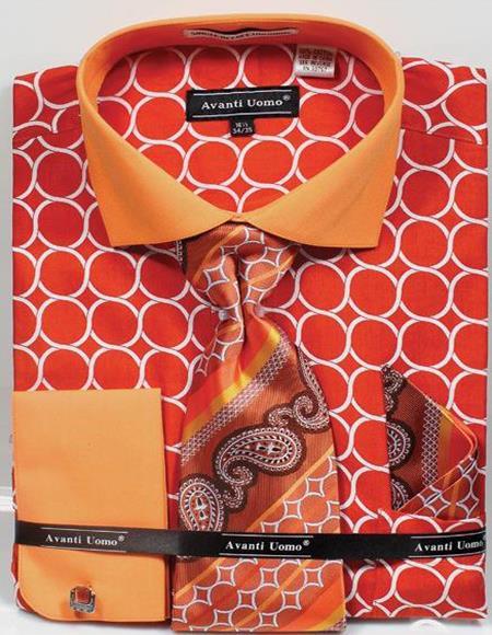 Men's Big Size Orange Circle Link Dress Shirt Tie Set