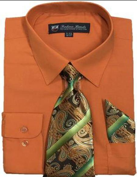 Men's Dress Shirts Tie Set Orange Color Long Sleeve Fortini