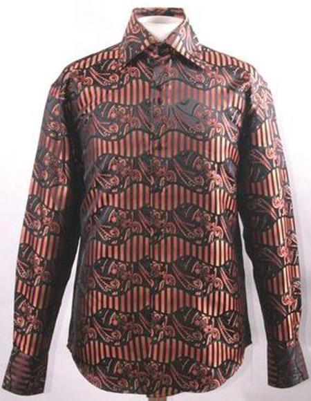 Men's Fancy High Collar Club Shirt Orange Paisley