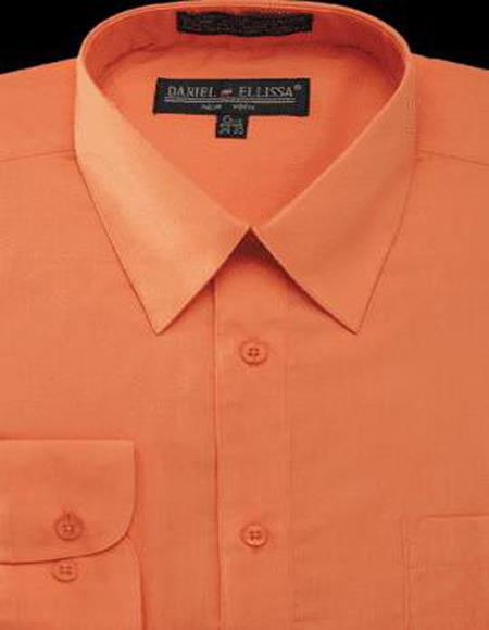 Mens Dress Shirt Orange Regular Fit