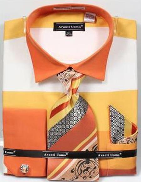 Mens Fashion Dress Shirts and Ties Mens Yellow Rugby Stripe Dress Shirt Set