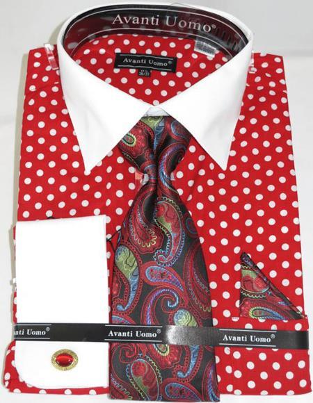 Mens Fashion Dress Shirts and Ties Red Polka Dot Colorful Mens Dress Shirt