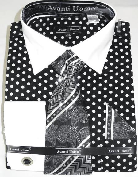 Mens Fashion Dress Shirts and Ties Black White Colorful Men's Dress Shirt