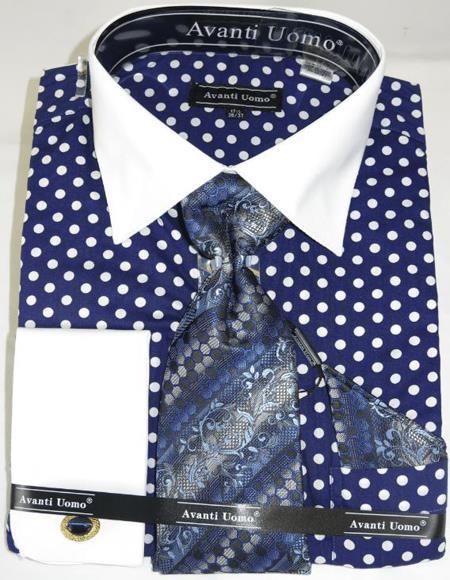 Mens Fashion Dress Shirts and Ties Blue Polka-a-Dot Colorful Men's Dress Shirt